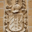 Carved stone coat of arms on the wall — Stock Photo