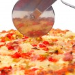 Italian pizza and cutter — Stock Photo #6339611