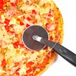 cortador e pizza italiana — Foto Stock