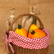 Pumpkins and sacs in the basket — Stock Photo #6339701