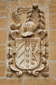 Carved stone coat of arms on the wall — Foto Stock