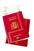 Two Spain passports and money — Stock Photo