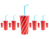 Many soda drinks with blue straw — Stock Photo
