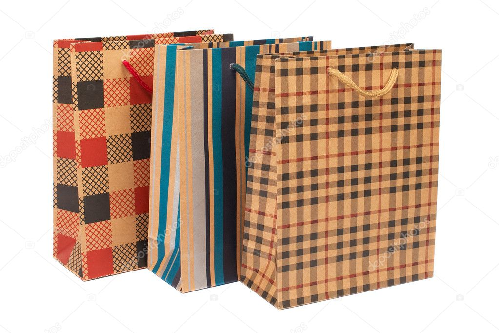 Three shopping bags, isolated on white background — Stock Photo #6339675