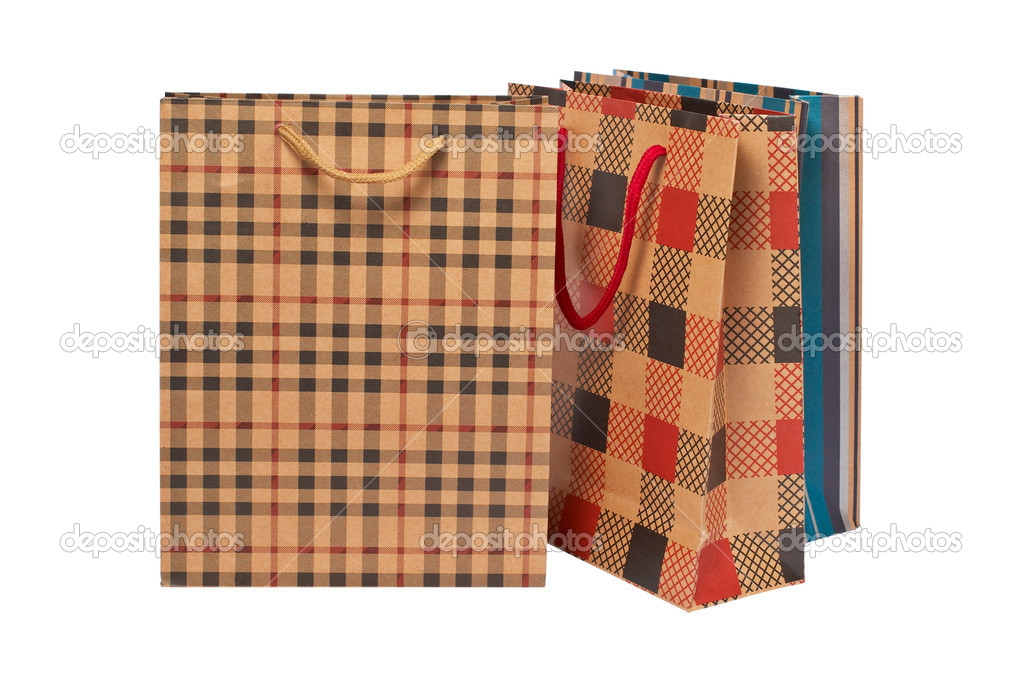 Three shopping bags, isolated on white background — Stock Photo #6339677