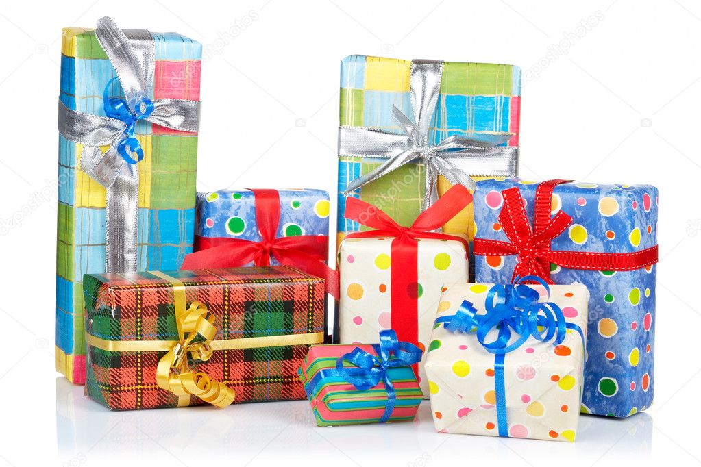 Assortment of gift boxes, reflected on white background — Stock Photo #6339929