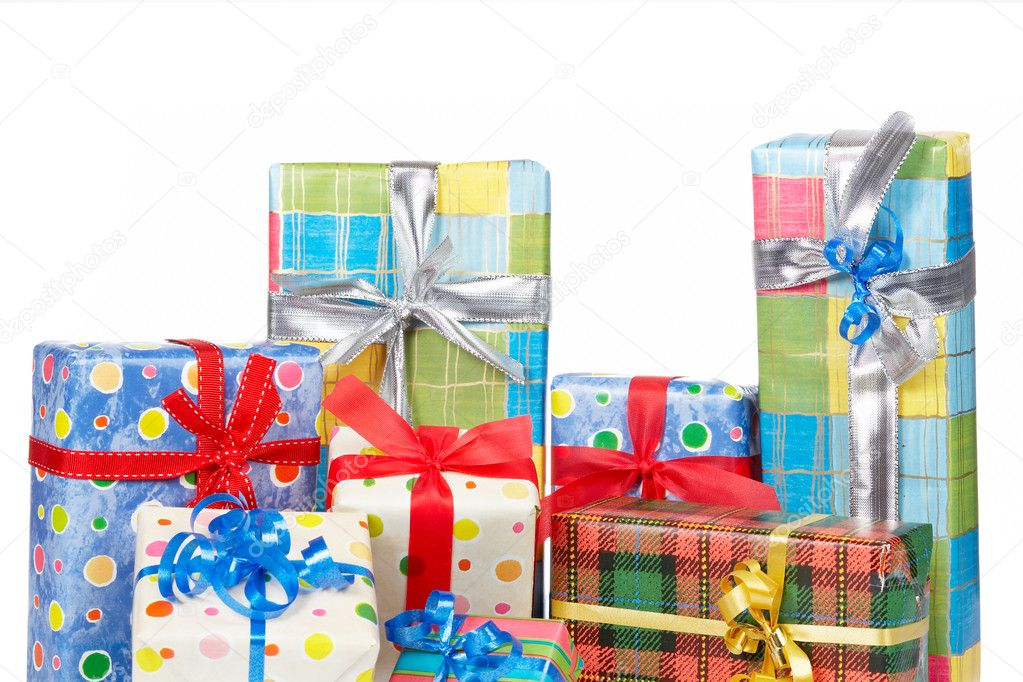 Detail of gift boxes, reflected on white background — Stock Photo #6339937