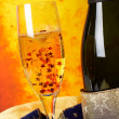 Champagne on glass — Stock Photo