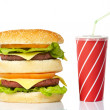 Cheeseburger and soda drink — Stock Photo