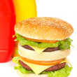Double cheeseburger with mustard and ketchup — Stock Photo