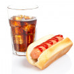 Hot dog and soda glass — Stock Photo