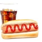Hot dog and soda — Stock Photo