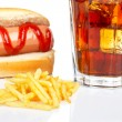 Hot dog, soda and french fries — Stock Photo
