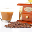 Stock Photo: Cup, grinder, coffee pot and beans