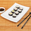 Sushi and soy sauce — Stock fotografie