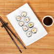 Sushi and soy sauce — Stock Photo