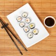 Stock Photo: Sushi and soy sauce