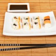Sushi and soy sauce — Stockfoto