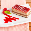 Delicious strawberry cake — Stock Photo