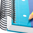 Pencil on a one notebook — Stock Photo