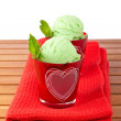 Two delicious mint ice creams — Stock Photo