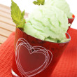 Delicious mint ice cream — Stock Photo