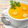 Carrots puree with bread croutons — Stock Photo