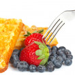 Waffles, blueberries and strawberries — Stock Photo
