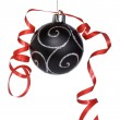 Christmas ball with a ribbon — Stock Photo
