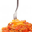 Rolled spaghetti on a fork — Stock Photo