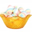 Multicolored marshmallows in the glass bowl — Stock Photo