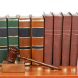 Wooden gavel and old law books — Stock Photo #6345315