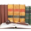 Wooden gavel and law books - Stockfoto