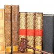 Wooden gavel and law books — Stock Photo #6345340