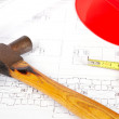 Stock Photo: Blueprints and tools