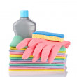 Detergent bottle, sponge and gloves — Stock Photo