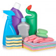 Detergent bottles and sponges — Stock Photo