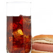 Hot dog and soda glass — Stock Photo #6345709
