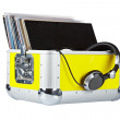 Disc Jockey box and headphones — Stock Photo