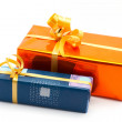 Two gift boxes white background — Stock Photo