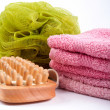 Royalty-Free Stock Photo: Towels, body sponge and wood brush