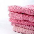 Pink towels stacked — Stock Photo