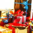 Detail of assortment of gift boxes - Stock Photo