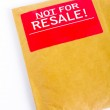 Detail of Envelope with red sticker: Not for resale — Stock Photo
