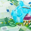 Piggy bank on euro money - Stock Photo