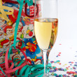 Champagne glass with shopping bag — Stock Photo