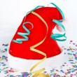 Christmas hat with ribbons and confetti — Stock Photo #6348118