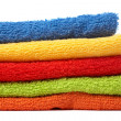 Multicolour towels stacked — Stock Photo