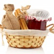 Jam jar, sticks of cinnamon and burlap — Stock Photo #6348494
