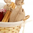 Stock Photo: Burlap sac, jam jar, cinnamon and